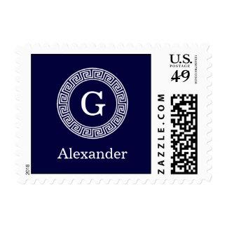 Navy Blue Wht Greek Key Rnd Frame Initial Monogram Postage Stamp