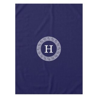 Navy Blue Wht Greek Key Rnd Frame Initial Monogram Tablecloth