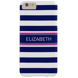 Navy Blue Wht Horiz Stripe Hot Pink Name Monogram Barely There iPhone 6 Plus Case