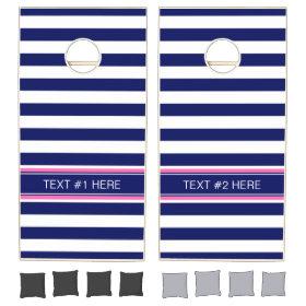 Navy Blue Wht Horiz Stripe Hot Pink Name Monogram Cornhole Sets