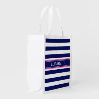Navy Blue Wht Horiz Stripe Hot Pink Name Monogram Grocery Bags
