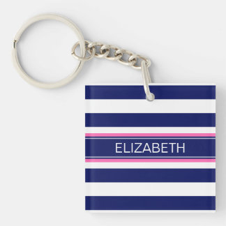 Navy Blue Wht Horiz Stripe Hot Pink Name Monogram Single-Sided Square Acrylic Keychain