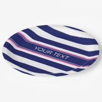 Navy Blue Wht Horiz Stripe Hot Pink Name Monogram Paper Plate
