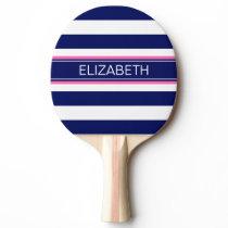 Navy Blue Wht Horiz Stripe Hot Pink Name Monogram Ping Pong Paddle