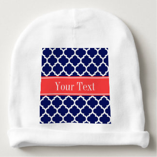 Navy Blue Wht Moroccan #5 Coral Red Name Monogram Baby Beanie