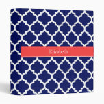 Navy Blue Wht Moroccan #5 Coral Red Name Monogram 3 Ring Binders