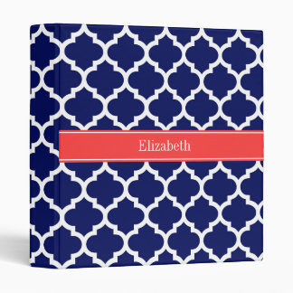 Navy Blue Wht Moroccan 5 Coral Red Name Monogram 3 Ring Binders