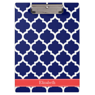 Navy Blue Wht Moroccan #5 Coral Red Name Monogram Clipboard