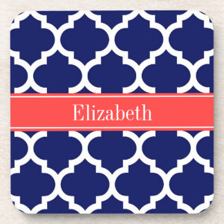 Navy Blue Wht Moroccan #5 Coral Red Name Monogram Drink Coaster