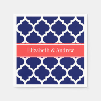 Navy Blue Wht Moroccan #5 Coral Red Name Monogram Paper Napkin