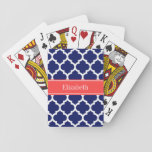 "Navy Blue Wht Moroccan #5 Coral Red Name Monogram Playing Cards<br><div class=""desc"">Navy Blue and White Moroccan Quatrefoil Trellis Pattern #5, Coral Red Ribbon Name Monogram Label Customize this with your name, monogram or other text. You can also change the font, adjust the font size and font color, move the text, add additional text fields, etc. Please note that this is a...</div>"