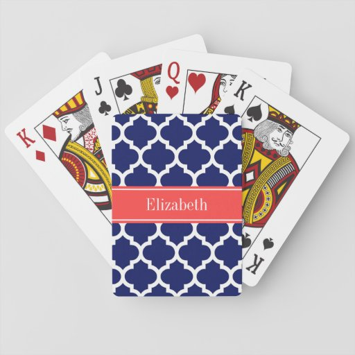 Navy Blue Wht Moroccan #5 Coral Red Name Monogram Playing Cards