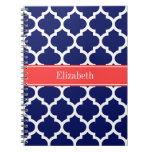 Navy Blue Wht Moroccan #5 Coral Red Name Monogram Spiral Note Book