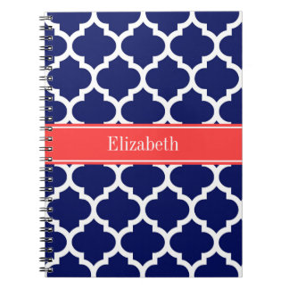 Navy Blue Wht Moroccan #5 Coral Red Name Monogram Spiral Notebook