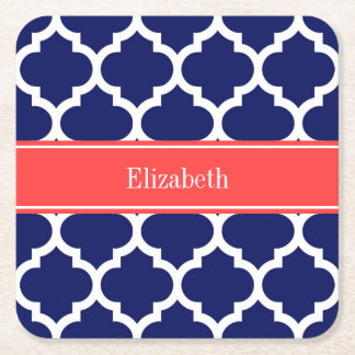 Navy Blue Wht Moroccan #5 Coral Red Name Monogram Square Paper Coaster