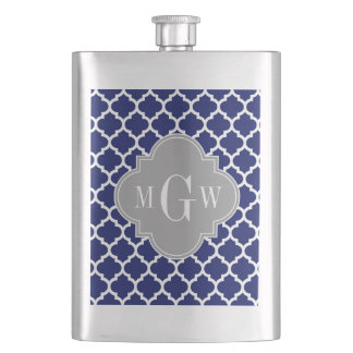 Navy Blue Wht Moroccan #5 Gray 3 Initial Monogram Flask