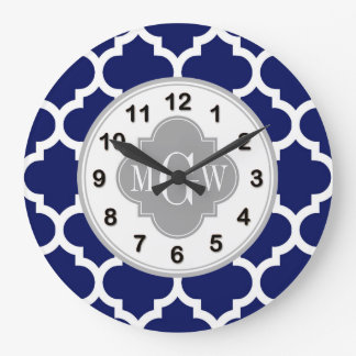 Navy Blue Wht Moroccan #5 Gray 3 Initial Monogram Large Clock