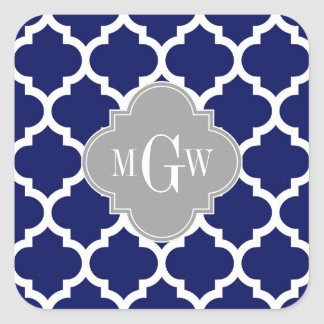 Navy Blue Wht Moroccan #5 Gray 3 Initial Monogram Square Sticker