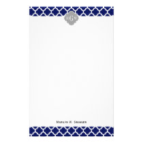 Navy Blue Wht Moroccan #5 Gray 3 Initial Monogram Stationery