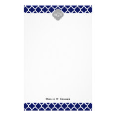 Navy Blue Wht Moroccan #5 Gray 3 Initial Monogram Stationery at Zazzle