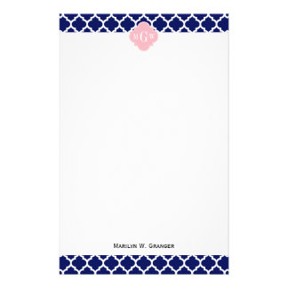 Navy Blue Wht Moroccan #5 Pink 3 Initial Monogram Stationery