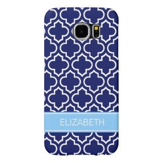 Navy Blue Wht Moroccan #6 Sky Blue Name Monogram Samsung Galaxy S6 Case