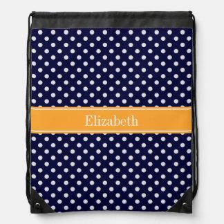 Navy Blue Wht Polka Dots Cantaloupe Name Monogram Drawstring Bag