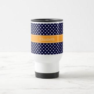 Navy Blue Wht Polka Dots Cantaloupe Name Monogram Travel Mug