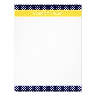 Navy Blue Wht Polka Dots Pineapple Name Monogram Letterhead