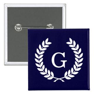 Navy Blue Wht Wheat Laurel Wreath Initial Monogram 2 Inch Square Button