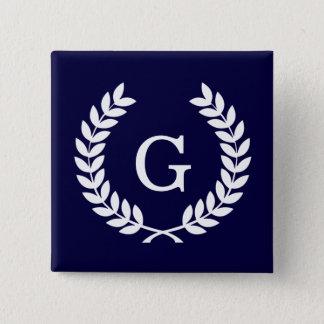 Navy Blue Wht Wheat Laurel Wreath Initial Monogram Button