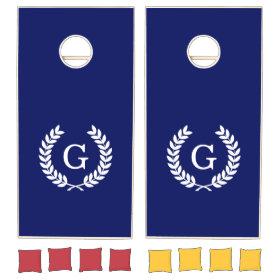 Navy Blue Wht Wheat Laurel Wreath Initial Monogram Cornhole Sets