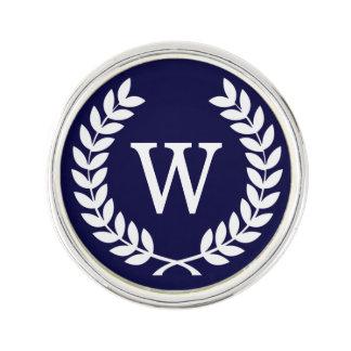 Navy Blue Wht Wheat Laurel Wreath Initial Monogram
