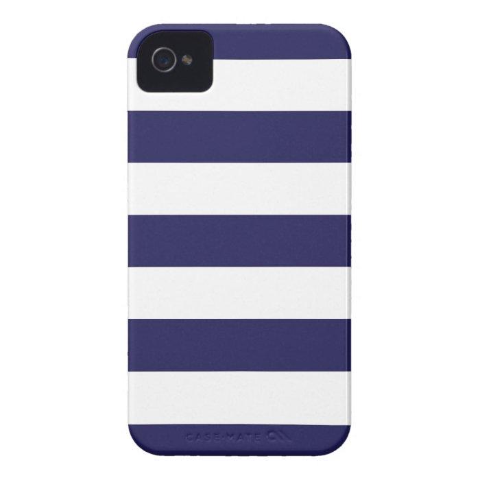 Navy Blue Wide Stripe iPhone Case