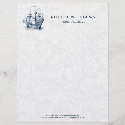 Navy blue wind sailing boat illustration letterhead