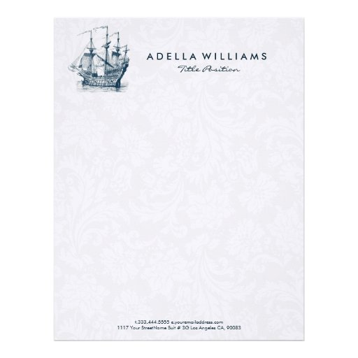 Navy blue wind sailing boat illustration letterhead