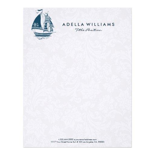 Navy blue wind sailing boat no.2 illustration letterhead