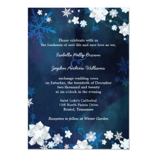 Navy Blue Winter Bohemian Wedding Card