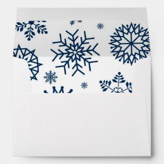 Navy Blue Winter Snowflake Christmas Holidays 2 Envelope