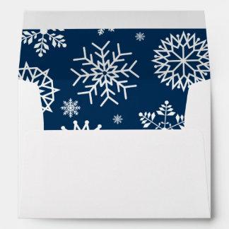 Navy Blue Winter Snowflake Christmas Holidays Envelope