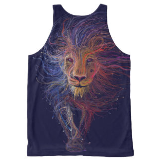 Navy Blue Wired Lion Printed Mens Tank Top All-Over Print Tank Top
