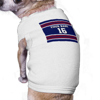Navy Blue with Burgundy White Stripes Team Jersey Pet Tee