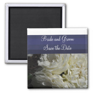 Navy Blue with Cream Roses Save the Date 2 Inch Square Magnet