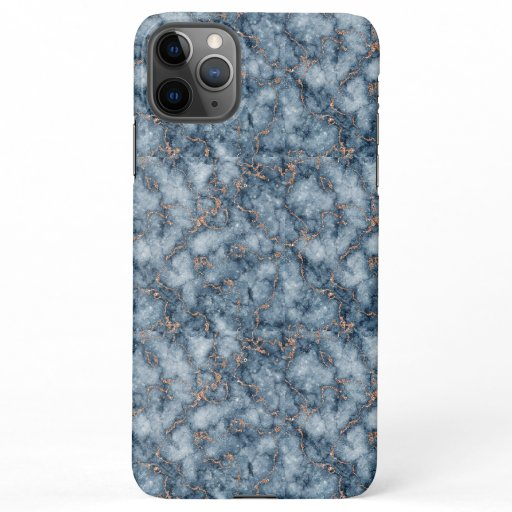 Navy Blue with Glitter Rose Gold Marble Design iPhone 11Pro Max Case