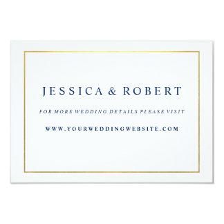 Navy Blue with Gold Wedding Website Insert Card