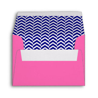 Navy Blue with Hot Pink Chevron Pattern Envelope