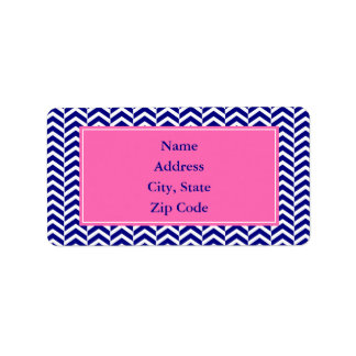 Navy Blue with Hot Pink Chevron Pattern Custom Address Label