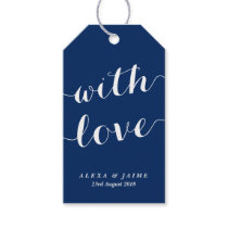 Navy Blue With Love Cute Modern Calligraphy Gift Tags