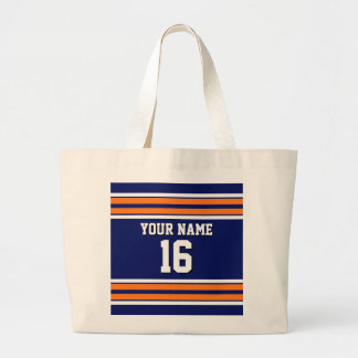 Navy Blue with Orange White Stripes Team Jersey Large Tote Bag
