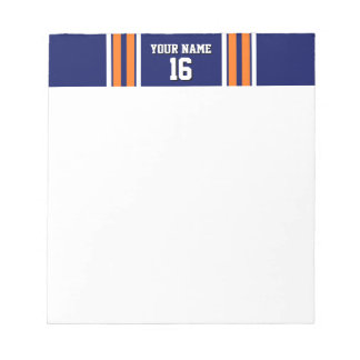 Navy Blue with Orange White Stripes Team Jersey Notepad